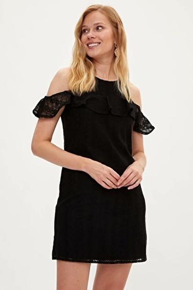DeFacto Omuz Dekolteli Elbise Siyah